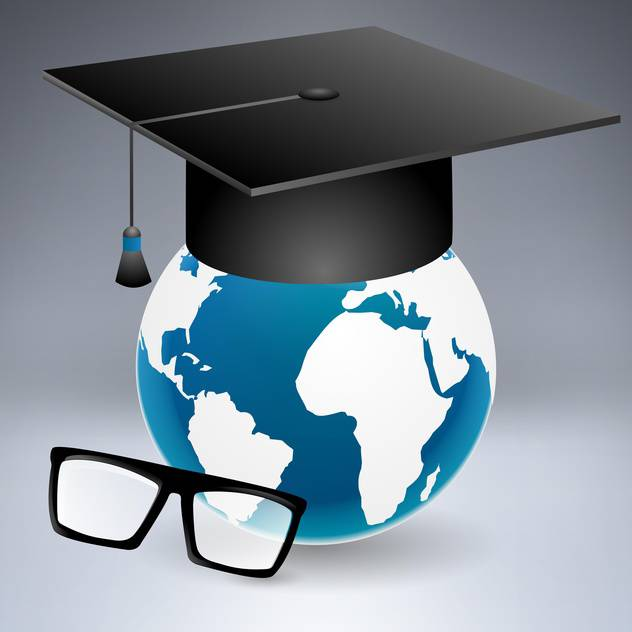 Graduation cap put on the globe with glasses - vector #132037 gratis