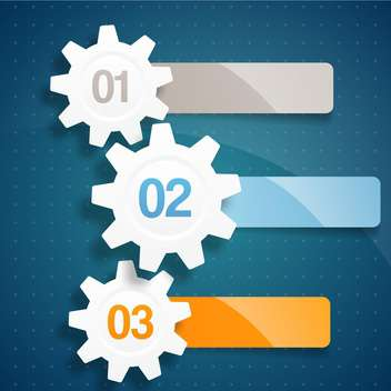 Set of process steps with gears on blue background - Free vector #132047