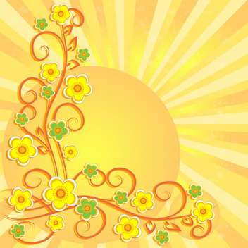 Summer background with sun and flowers - vector gratuit #132067