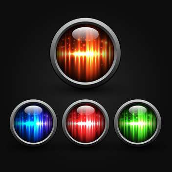 Set of colored buttons on black background - vector gratuit #132137
