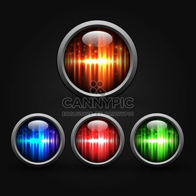 Set of colored buttons on black background - Free vector #132137