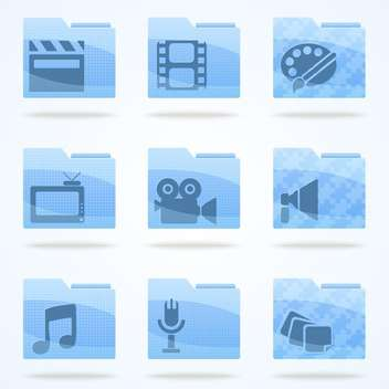 Vector multimedia veb folder icons set - vector gratuit #132187