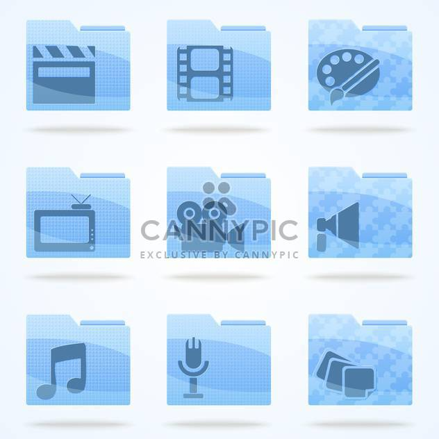 Vector multimedia veb folder icons set - Free vector #132187