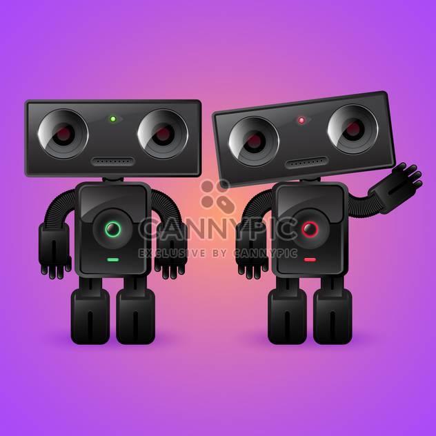 Zwei cartoon Roboter: Mann und Frau auf violettem Hintergrund - Free vector #132197