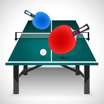 Tennis table with rackets and ball, vector Illustration - Free vector #132227