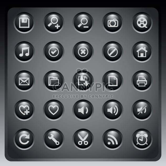 Web-Icons, die auf dunklem Hintergrund festlegen - Free vector #132237