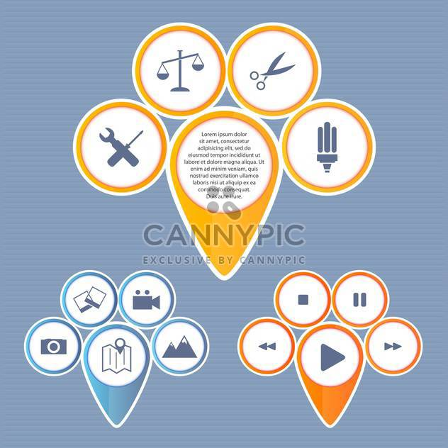 Vector set of web buttons on blue background - Free vector #132307