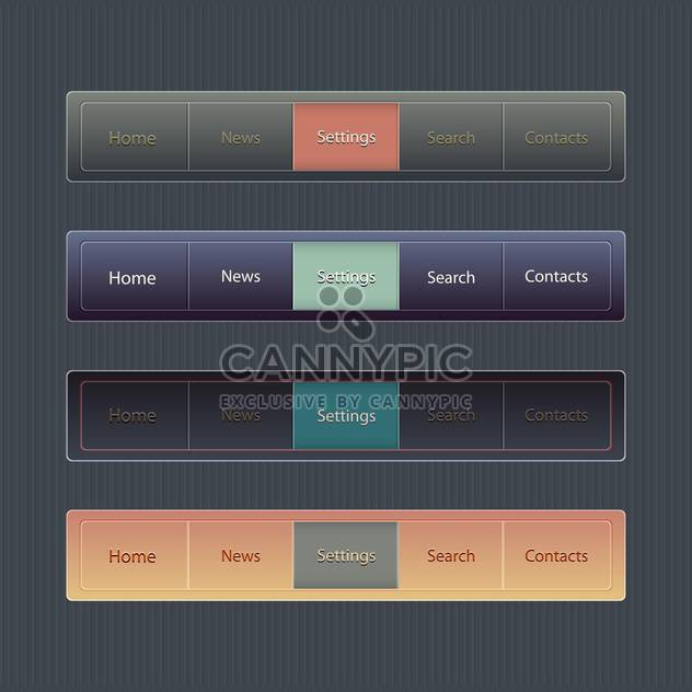 Vector web elements :home,news,settings,search,contacts on black background - Free vector #132317