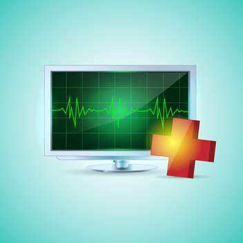 Flat screen on turquoise and medical cross - Free vector #132377