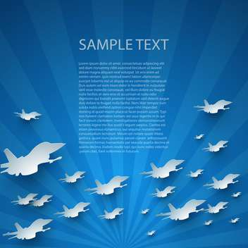 Blue abstract vector background with planes - vector gratuit #132397