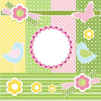 Vector spring background with flowers birds and butterfly - vector gratuit #132467