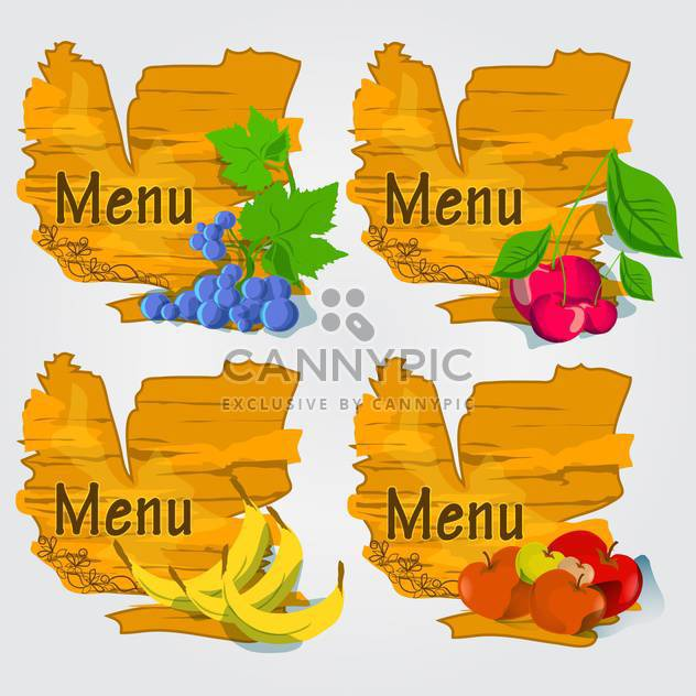 set of fruits with menu background - Free vector #132607