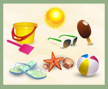 beach icons vector set - Free vector #132737