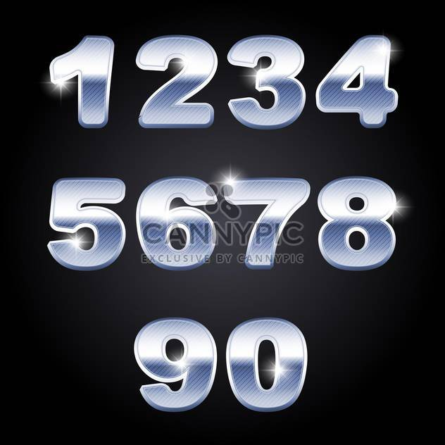 vector chrome numbers set background - Free vector #133587