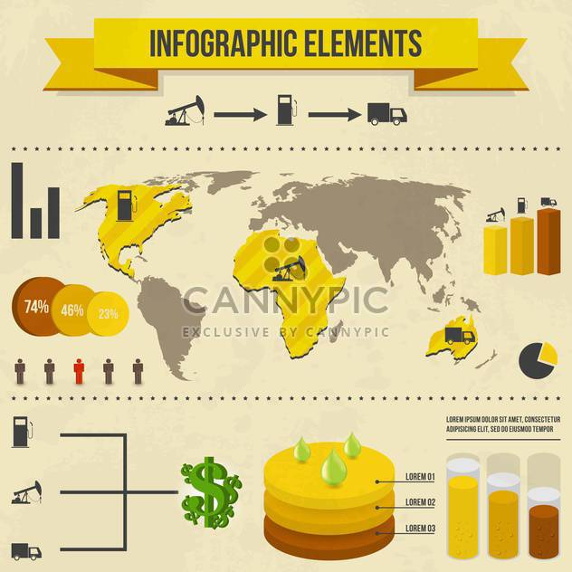 set elements of business infographics - Free vector #133677