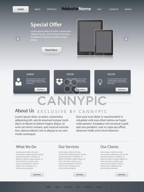 vector template of abstract website design - Free vector #133697