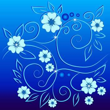 vintage flowers on blue background - vector gratuit #133787