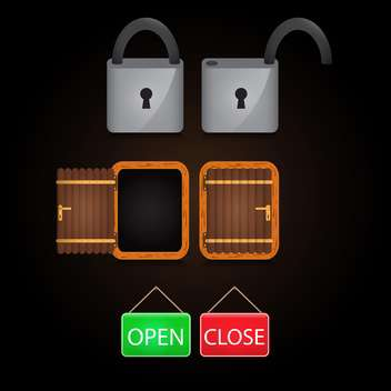 open and closed tags vector icon - Free vector #133847