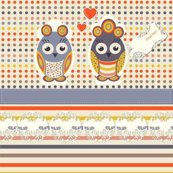 vintage illustration of funny owls - vector gratuit #134217