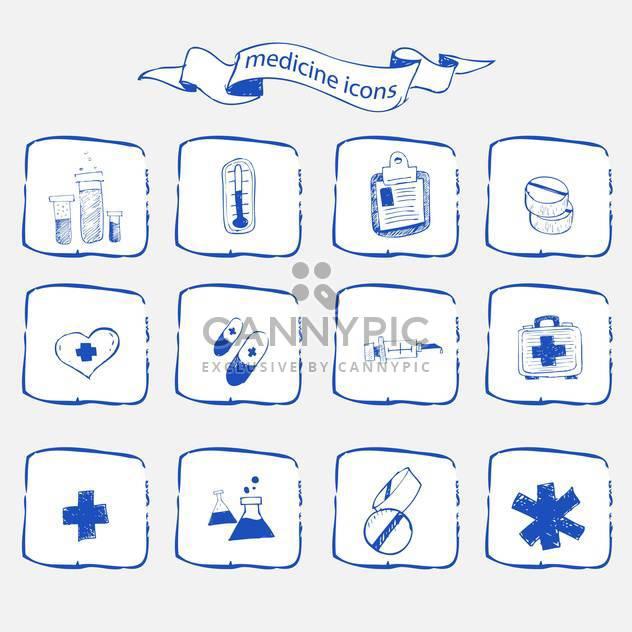 Medizin-Ikonen skizzieren Satz - Free vector #134337