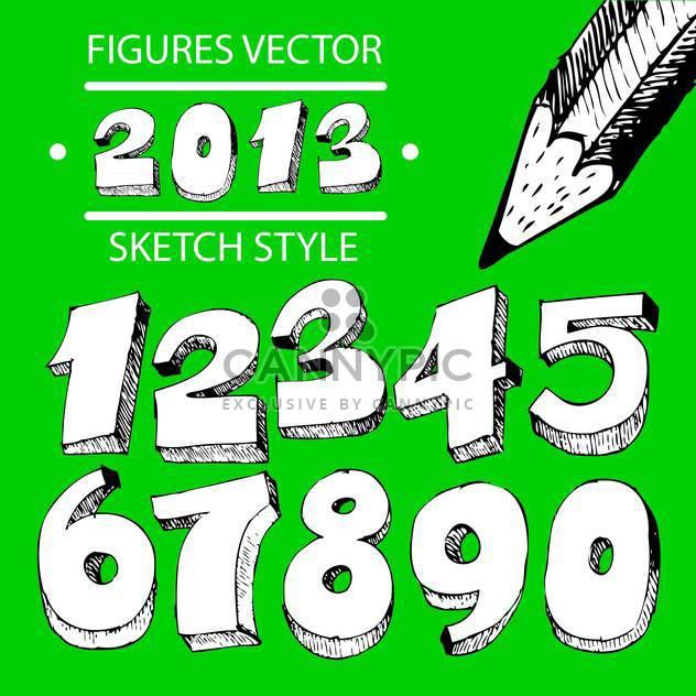 Zahlen Vektor skizzieren Formatvorlagensatz - Kostenloses vector #134347