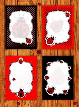 ladybug animal cards set background - vector #134357 gratis