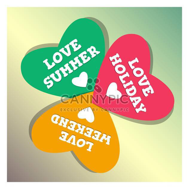 summer holiday and vacation hearts - Free vector #134417