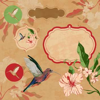 label with bird and flowers - vector #134727 gratis