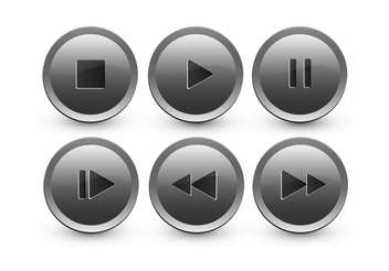 vector set of media buttons - vector gratuit #134897