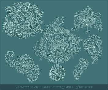 decorative floristic elements in vintage style - vector gratuit #135047