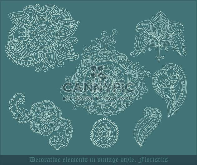 decorative floristic elements in vintage style - Free vector #135047