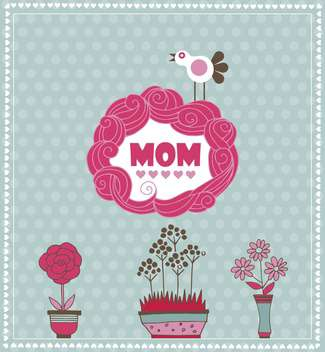mother's day greeting card with spring bird and flowers - бесплатный vector #135057