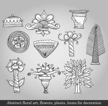 flowers and plants for decoration on grey background - vector gratuit #135087