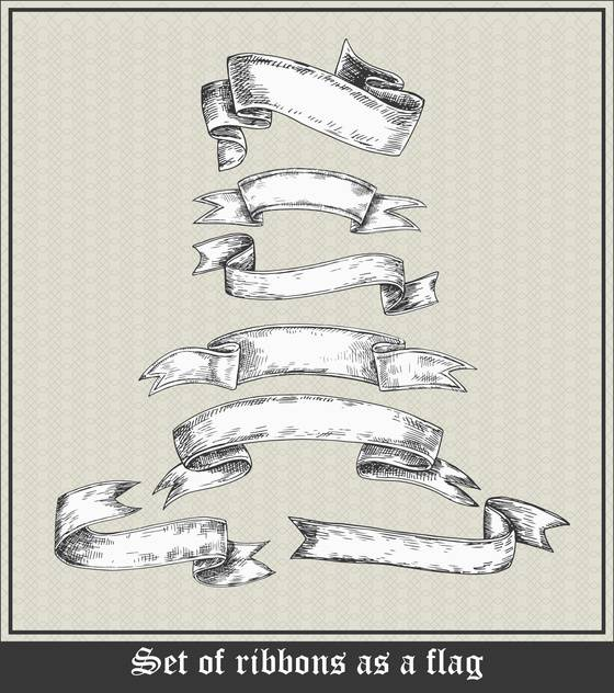set of blank ribbons in retro style - vector #135107 gratis