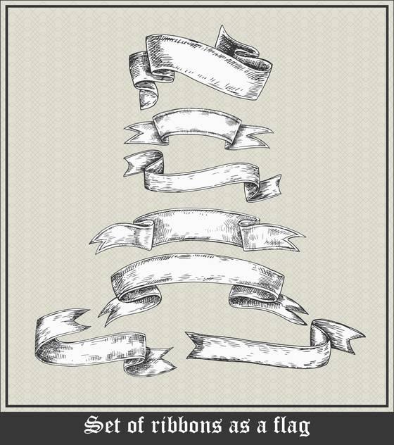 set of blank ribbons in retro style - бесплатный vector #135107