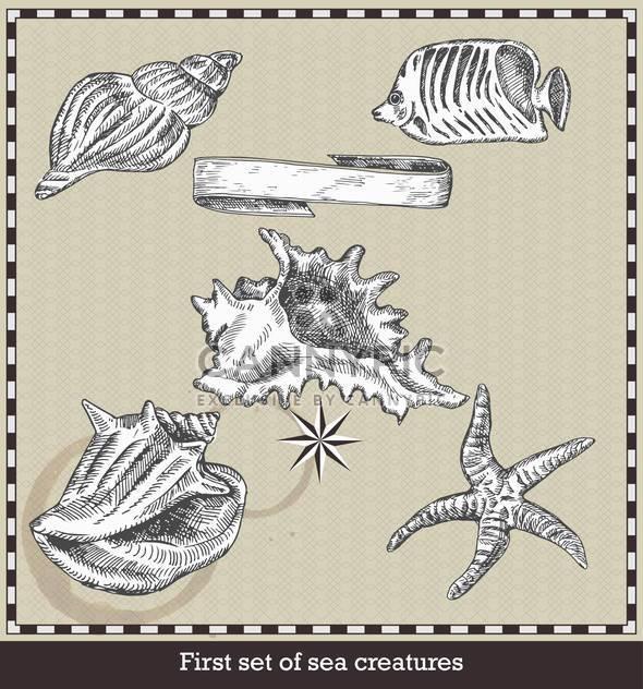 set of sea fish, seashell and starfish in retro style - Free vector #135117