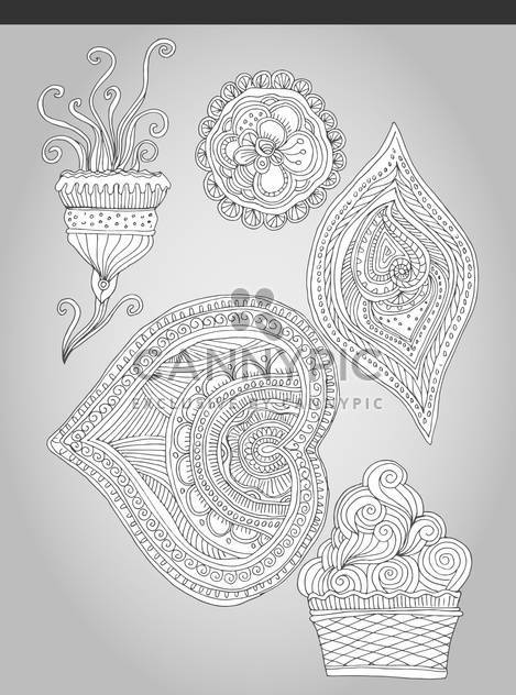 fantastic flowers in folk style vector illustration - Free vector #135147