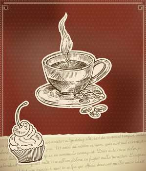 label for coffee time with cup and cake - vector #135177 gratis