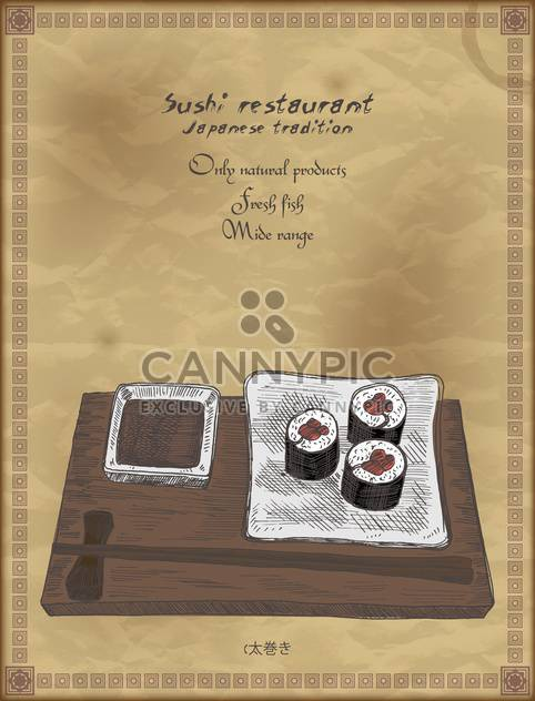 vintage poster for japanese restaurant background - Free vector #135197