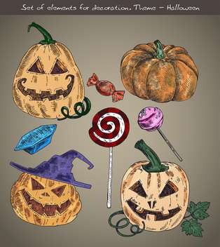 set of elements for halloween holiday theme - Free vector #135267