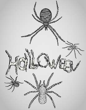happy halloween holiday vector card with spiders - vector #135277 gratis