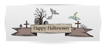 Halloween card illustration with tombs - vector gratuit #135287