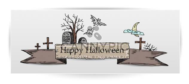 Halloween-Karte Abbildung mit Gräbern - Free vector #135287