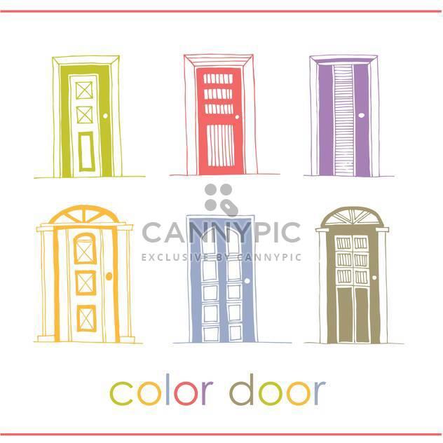 Satz von farbigem Vektor Türen Hintergrund - Free vector #135307