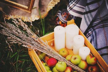 Apples, candles and herbs in wooden box - image #136197 gratis