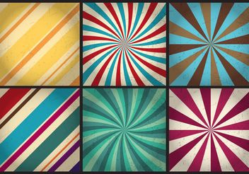 Retro Sunburst Vector Backgrounds - Free vector #138687