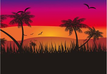 Tropical Sunset - vector gratuit #138817