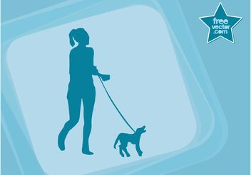 Girl With Dog Vector - Free vector #138997