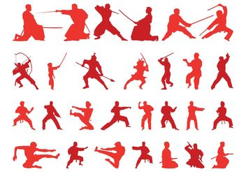 Martial Arts Silhouettes - Free vector #139007
