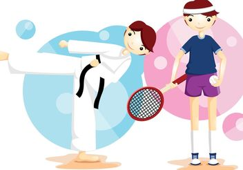 Karate And Tennis Sport Vector Boys - vector gratuit(e) #139067